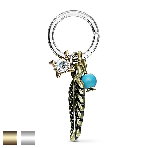 Feather and Turquoise Twist Ring