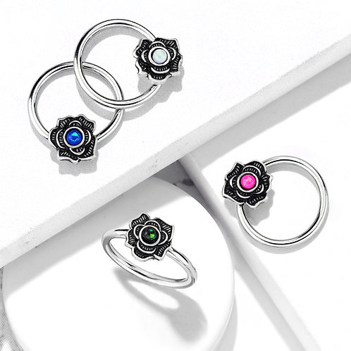 Opal Flower Ball Closure Ring