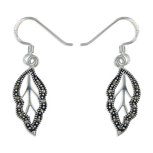 Marcasite Cut Out Leaf Drops