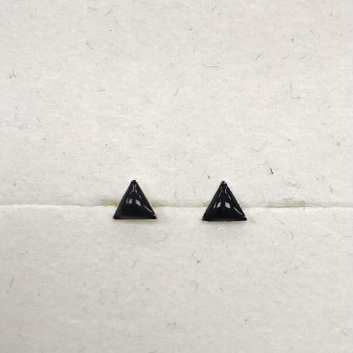 Black Enamel Triangle Studs