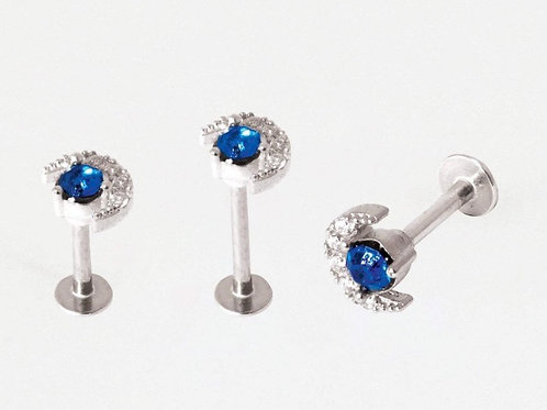 Blue and Clear Jewelled Moon Labret