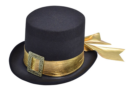 Black Top Hat with Gold Belt