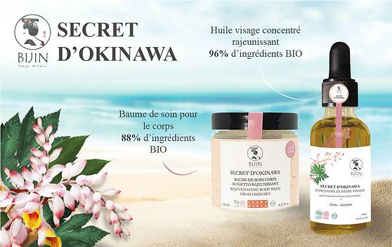 banniere gamme secret okinawa huile visage et baume de soin pour le corps au getto et ashitaba