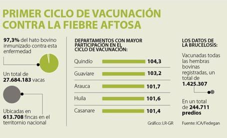 Cerca de un 97% de los bovinos del país ya está vacunado contra la fiebre aftosa