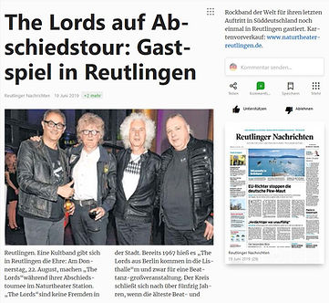 The Lords, Reutlinger Nachrichten 19.6.19, #pupil17djkult,