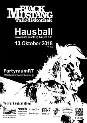 Black Mustang Reutlingen, #Hausball18, DJ Dirndl,