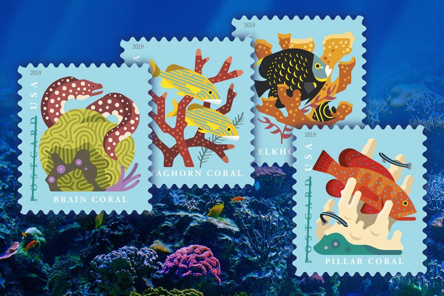 USPS coral reef stamp