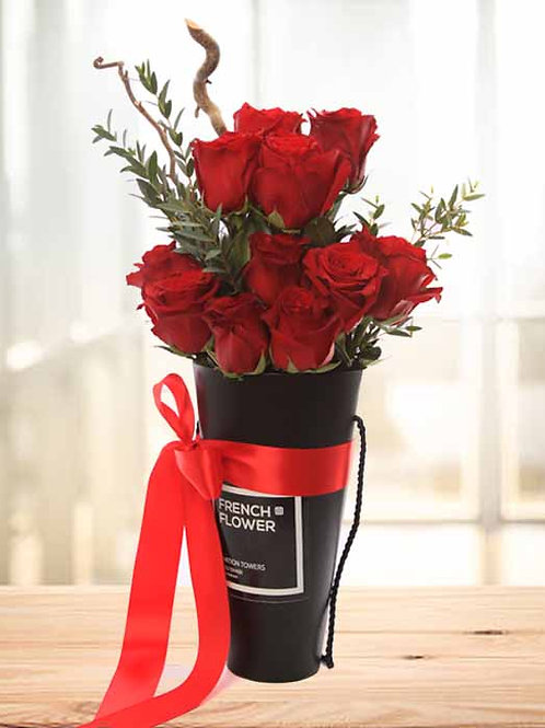 Red Roses in Black Cone