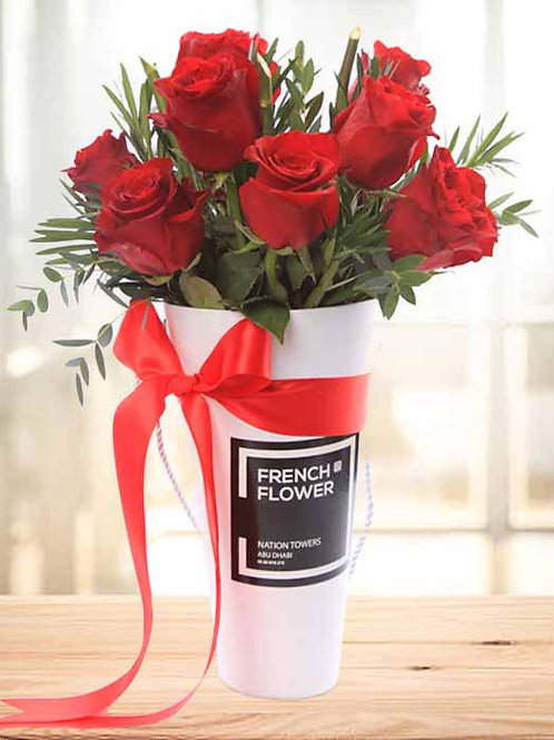 Red Roses in White Cone