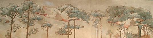 Wall mural of rosetta spoon bill birds flying through everglades pines