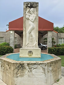 Coral Gables Woman's Club fountain depicting very young woman