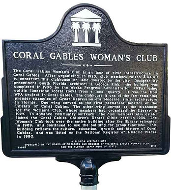 close up of Coral Gables Woman's Club historic marker text