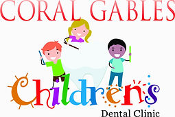 Logo of the Coral Gables Children's Dental Clinic showing 3 kids with toothbrushes and a giant tooth