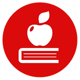 Education & Libraries icon showing a book with an apple on top.