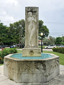Fountain with middle aged woman
