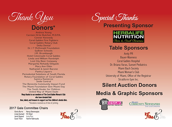 Thank you listing all 2017 sponsors of our gala