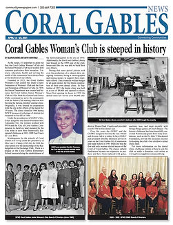 Cover of Coral Gables news with Dorothy Thomson and old photo of original library