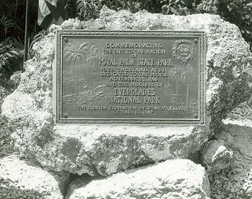 Photo of a plaque recognizing the woman's club role in creating Royal Palm Park