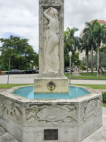 Fountain with older woman