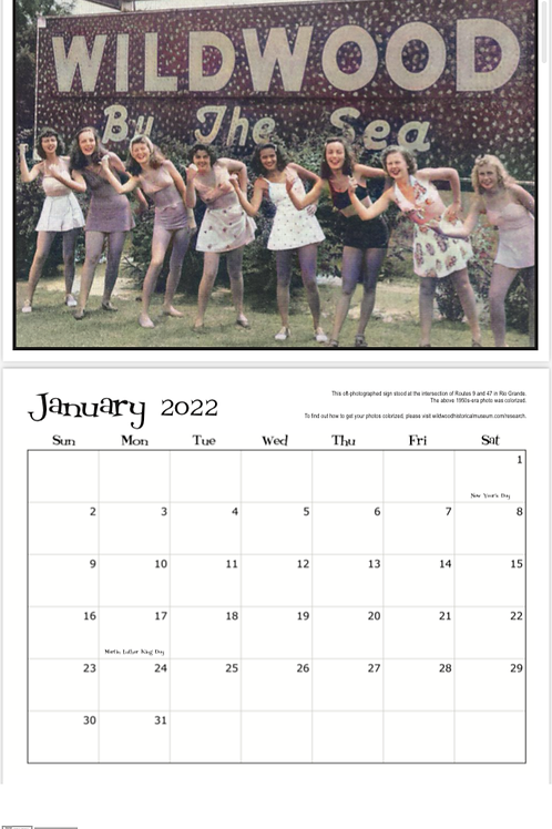 Official 2022 Wildwood Historical Society calendar