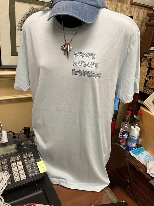 North Wildwood latitude and longitude double sided T-shirt