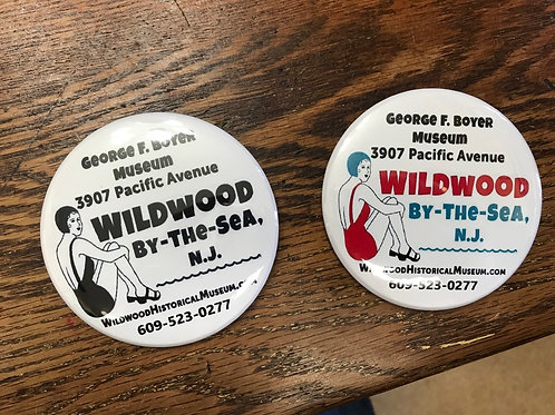 Wildwood Historical Society pinback button/magnet