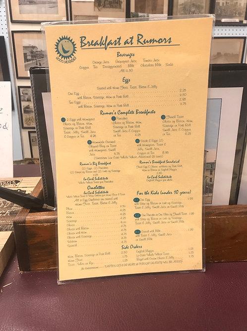 Authentic vintage breakfast at Rumors Wildwood restaurant menu