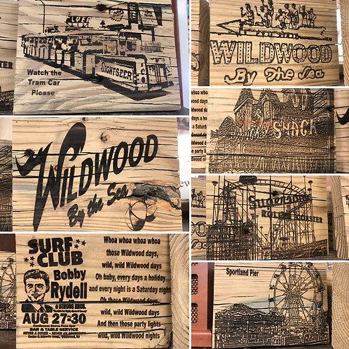 Laser engraved piece of Wildwood boardwalk