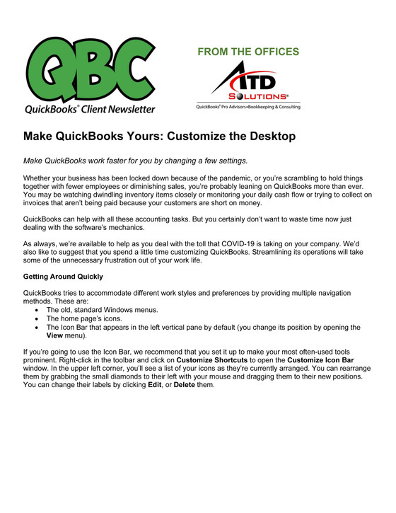 Make QuickBooks Yours: Customize the Desktop