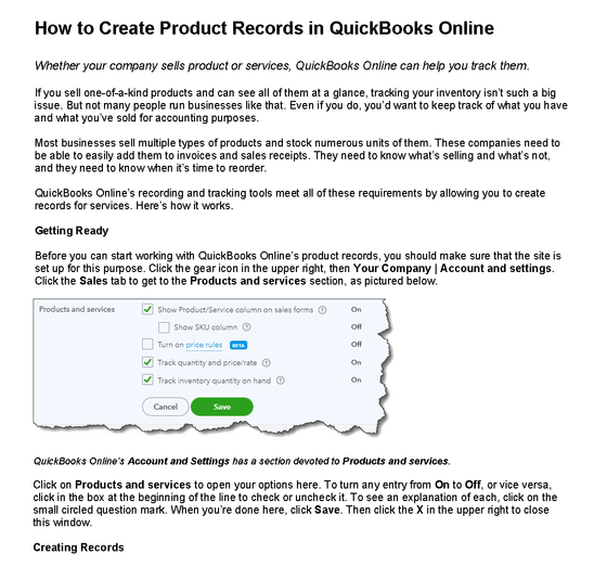 How to Create Product Records in QuickBooks Online