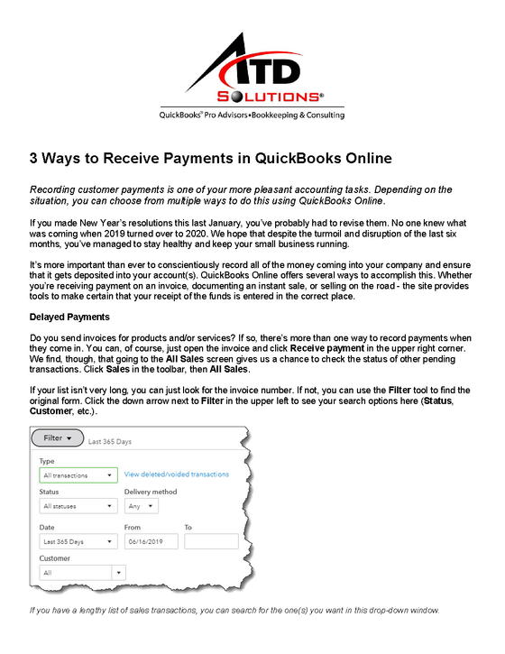 3 Ways to Receive Payments in QuickBooks Online