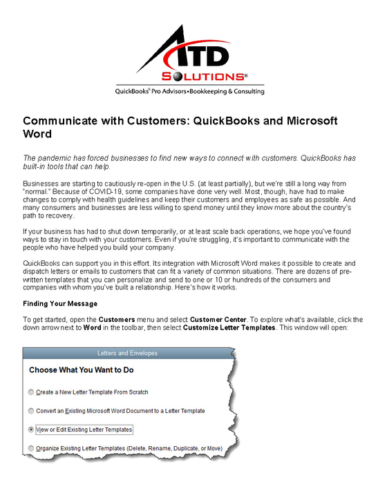 Communicate with Customers: QuickBooks and Microsoft Word