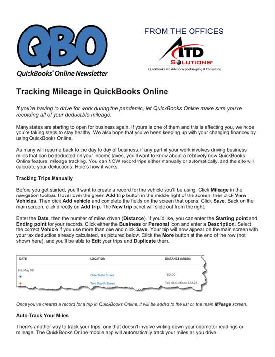 Tracking Mileage in QuickBooks Online