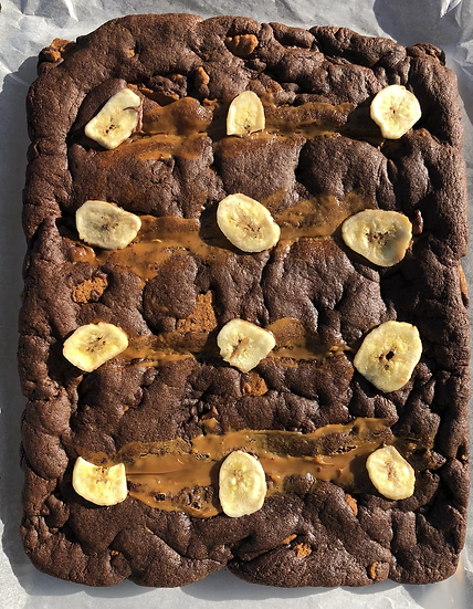 Banana Biscoff chocolate cookie slab