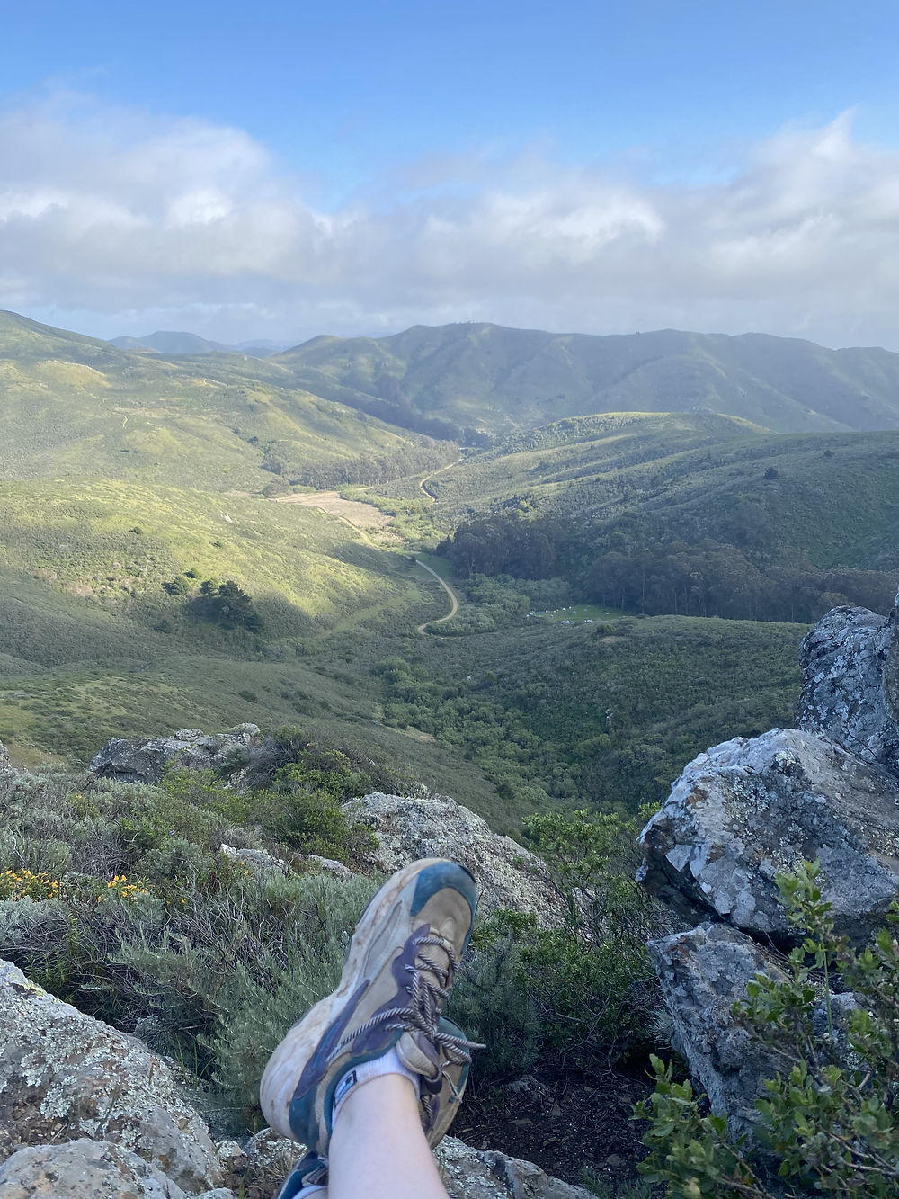 An incredible view of a trail running through the Marin Headlands