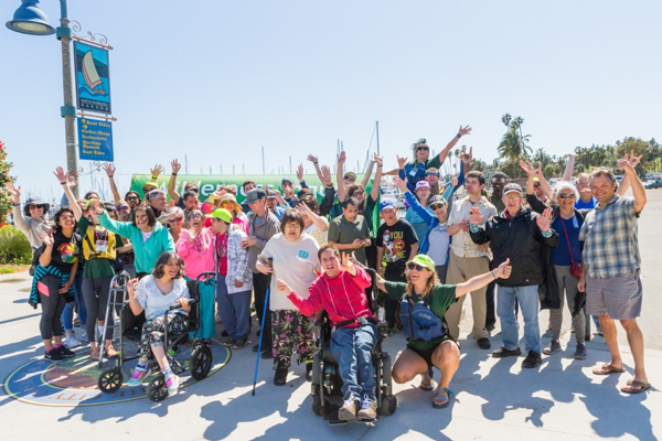 A crowd of people from all ages and all walks of life get together to cheer and celebrate their love for the outdoors in Santa Barbara, California