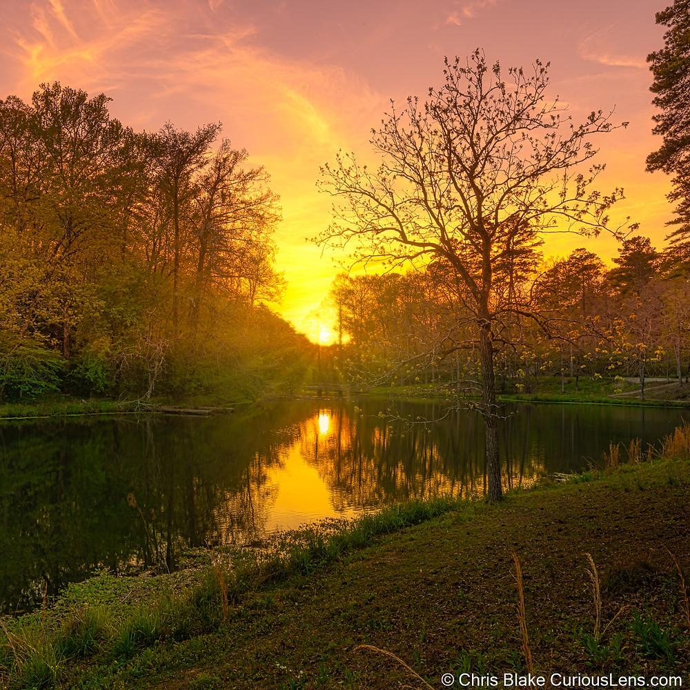The sun's rays filter through the trees surrounding Ricks Pond in Hot Springs National Park, Arkansas
