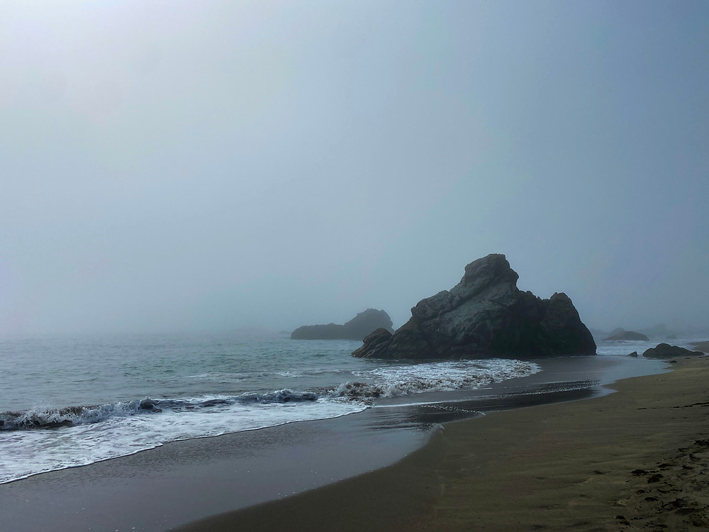 a foggy section of the Oregon Coast, with brown sand meeting slate grey water, a large rock nestled along the coastline