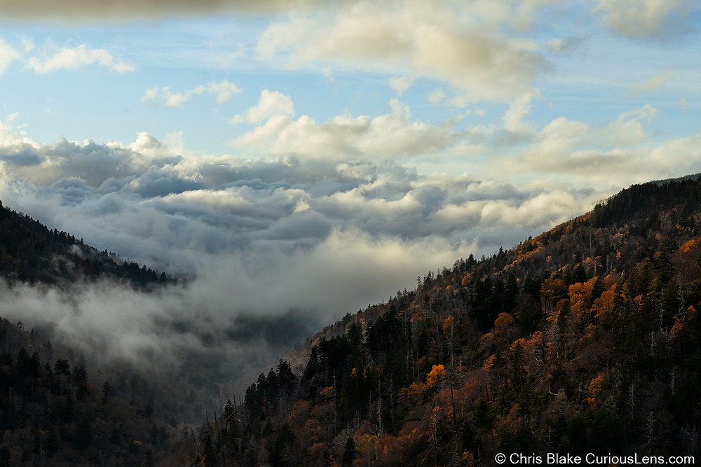 The Great Smoky Mountains in North Carolina filling with smoke. Low hanging fog is draped over wooded mountainsides