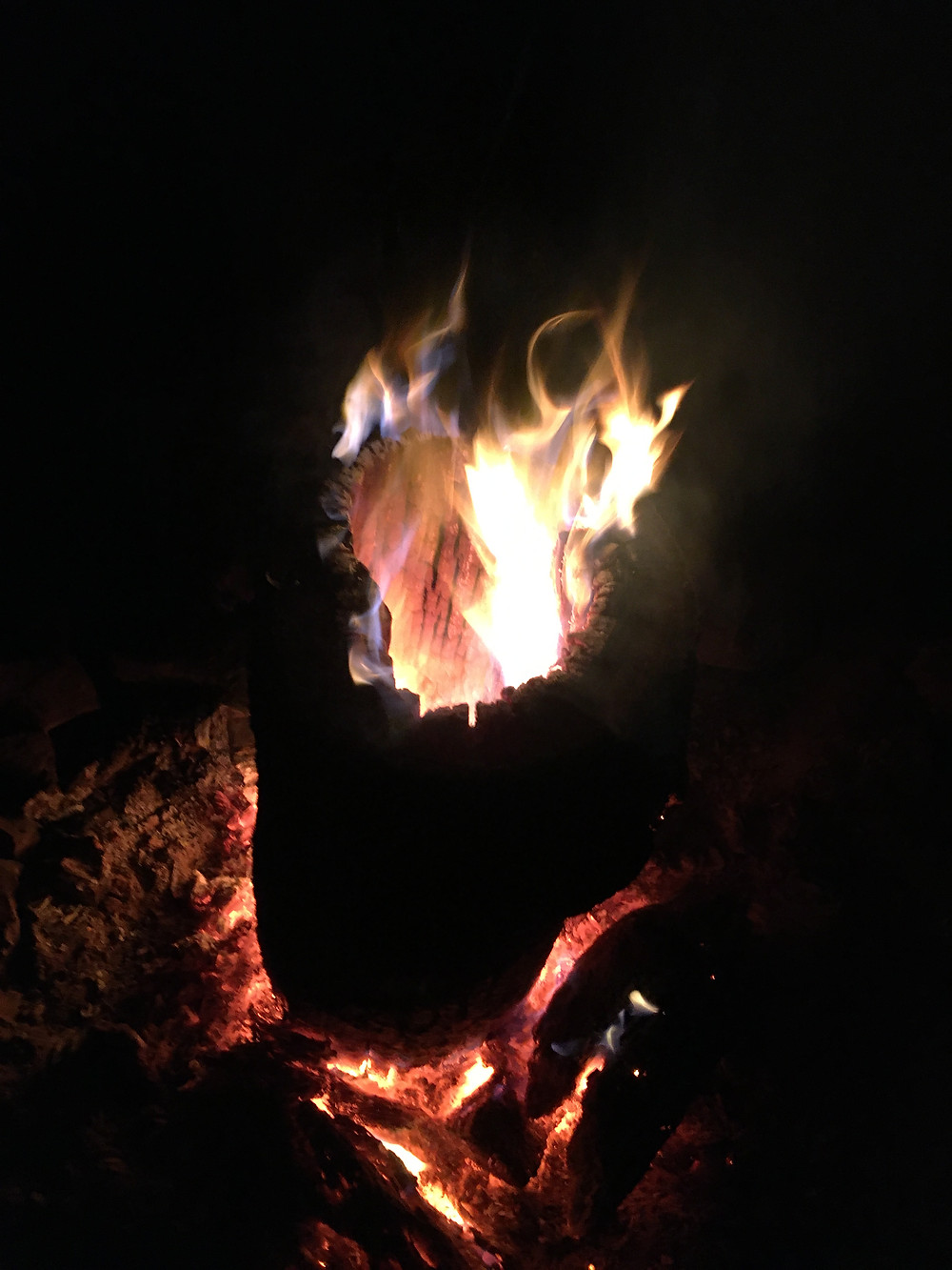 A hollowed out log in the middle of a campfire shoots flames out of the top, creating an inferno of amazing - somewhere in the White Mountains National Forest in Northern New Hampshire