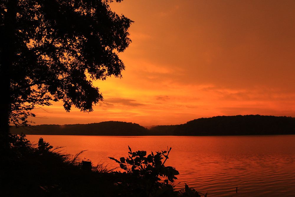The sky over Land Between The Lakes in Kentucky is on fire with a deep orange glow, illuminating the clouds and lake alike with a deep glowing color as a dark tree looms in the foreground and the hills on the far side of the lake lurk darkly