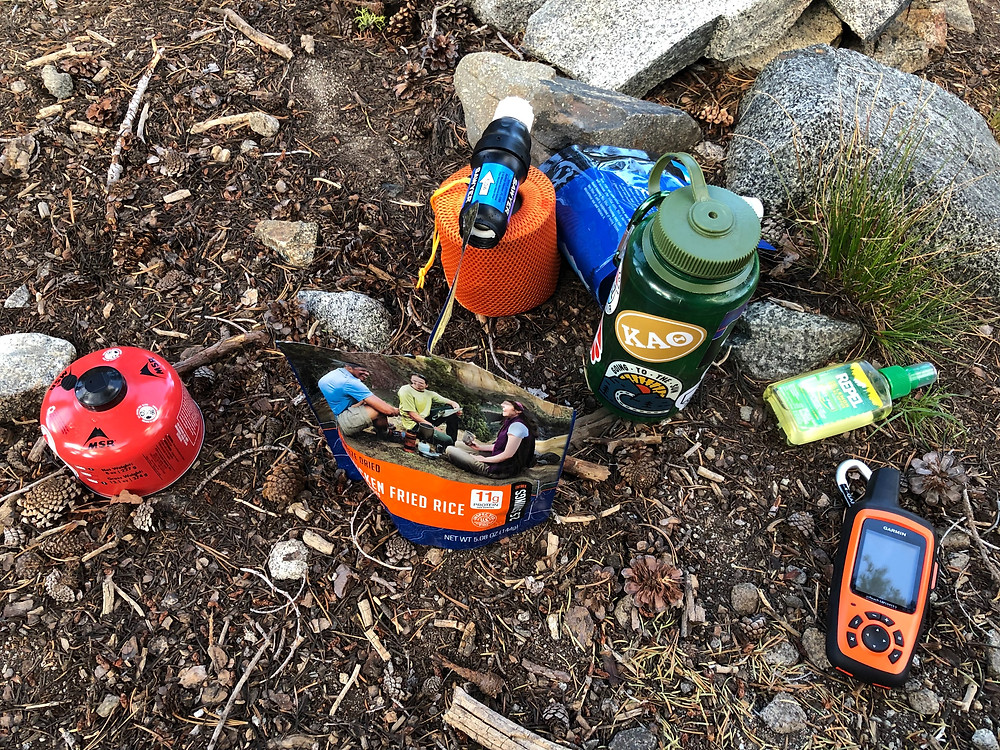 Some of Taylor's must-have items. GPS phone, bug spray, gas canisters, water bottles, etc