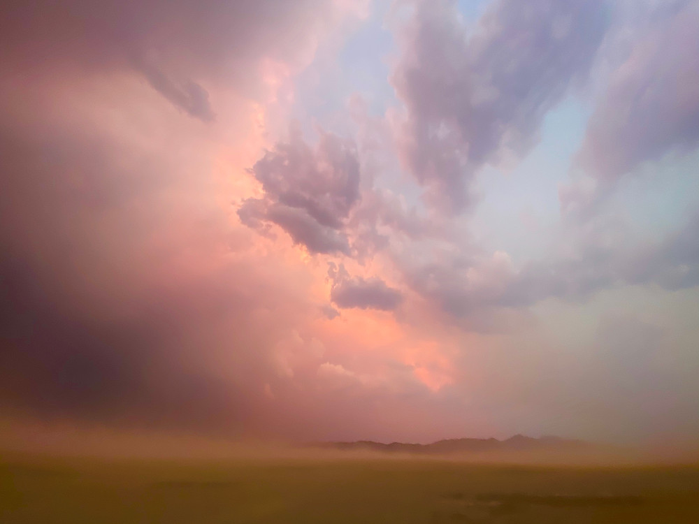 An unbelievable pink sky over Black Rock Desert in Gerlach, Nevada