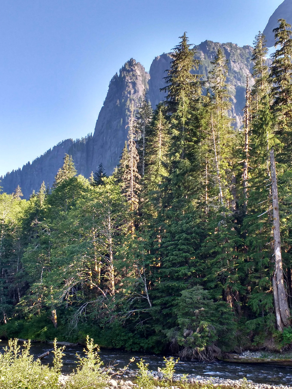 a river flows by stately evergreens in the foreground, as the steep cliffs of Mazama tower in the background. Washington