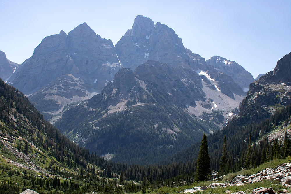 One of the more Grander of Tetons looms over a valley in Grand Teton National Park in Wyoming