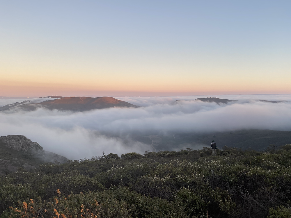 Fog rolling in across Mount Tamalpias as the sun sets over the Pacific Ocean