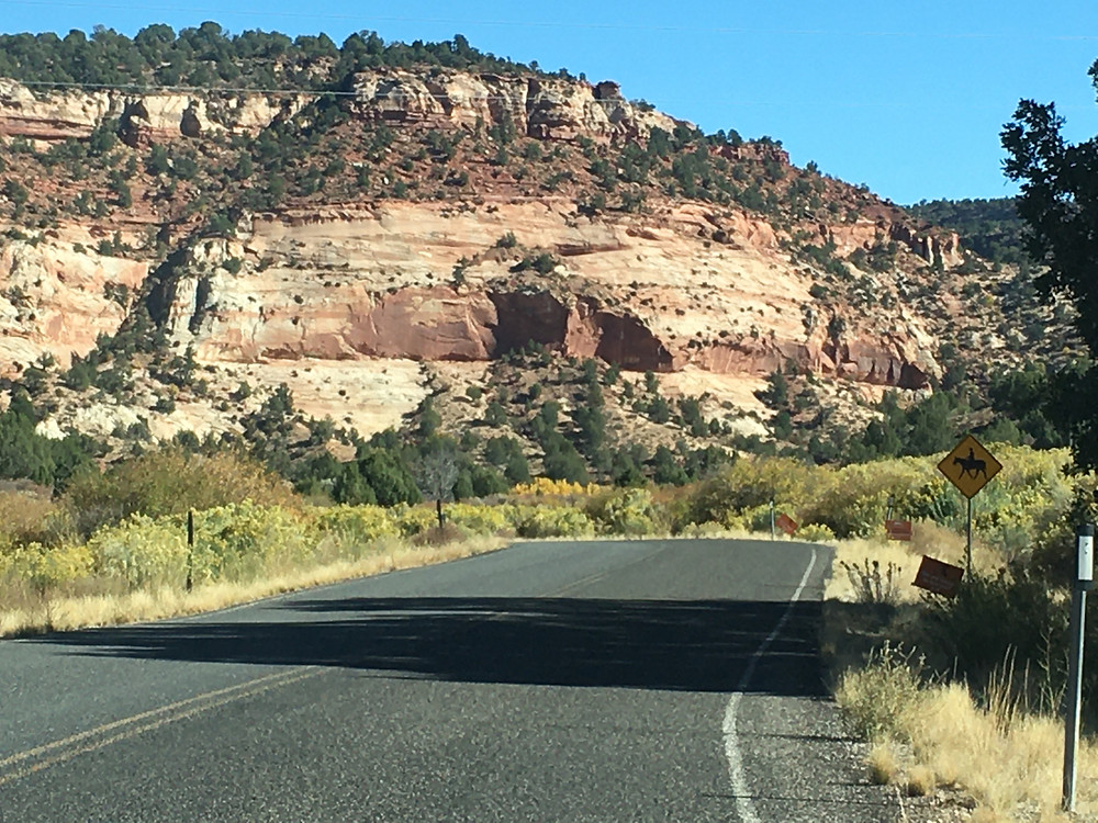 A brilliant striated red rock formation juts out of otherwise lush green scrubland in Kanab, Utah
