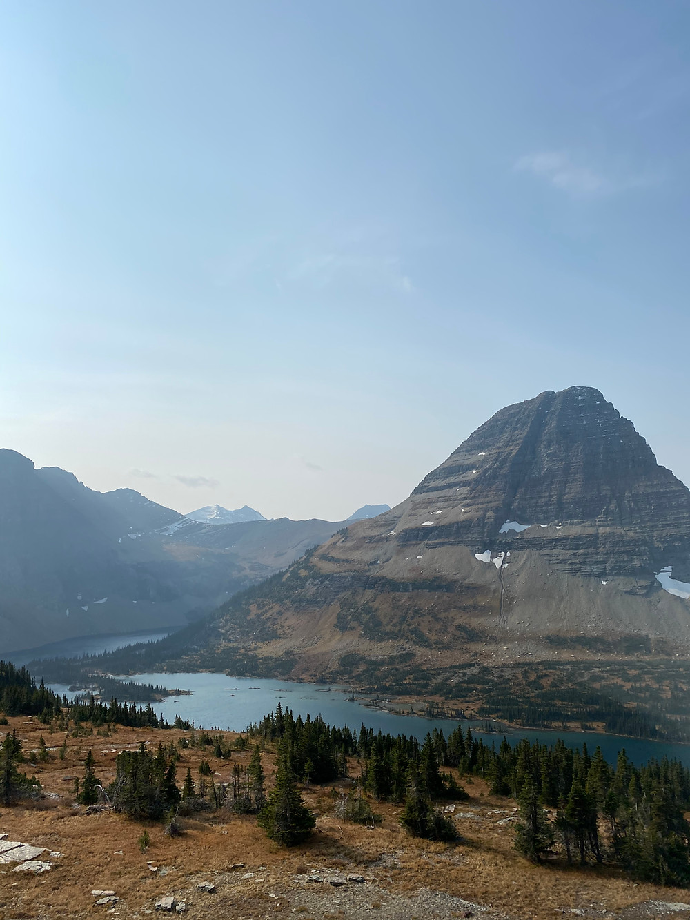 Glacier National Park in all its striated, hazy glory
