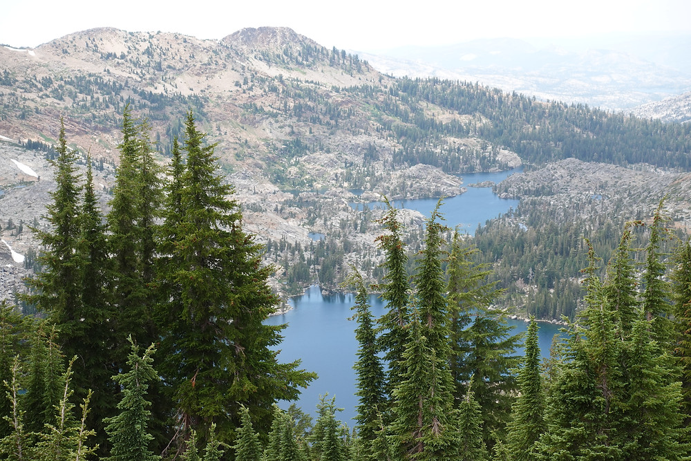 Trees dot a rocky mountainside leading into crystal blue waters in the Tahoe Rim Trail in CAlifornia