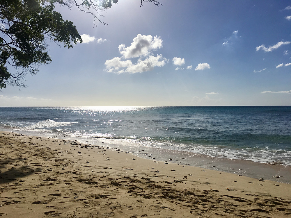 A beautiful view of the Caribbean from a beach on the West Coast of Barbados near Bridgetown